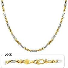 "3.40mm 22"" 25.60gm Solid 14k Gold Two Tone Men's Figarope Milano Chain Necklace"