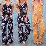 Womens Summer Floral Casual Trousers Jumpsuit Sleeveless Loose Beach Playsuit VT
