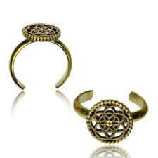 Of Life Mid-Ring Ornate Boho Gypsy Solid Brass Tribal Toe Ring Adjustable Flower