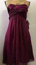 Davids Bridal Short Crinkle Charm Chiffon Sleeveless Dress Sangria Wine Size 4