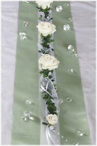 Tischgirlande weiß - creme, Tischdeko, Tischdekoration Hochzeit Kommunion Taufe