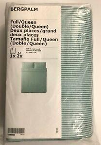 New IKEA BERGPALM Full/Queen Duvet cover and 2 pillowcases, white/green, stripe