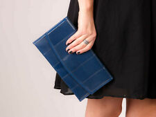 60s navy blue patchwork faux leather clutch bag envelope clutch