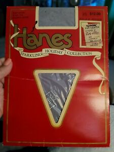 Hanes Sparkling Holiday Pantyhose~silver stone accents sz A-B/Brushed Silver