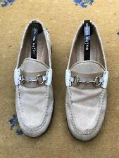 Gucci Womens Shoes Beige Canvas Horsebit Loafers UK 4 US 6 EU 37 Ladies Web