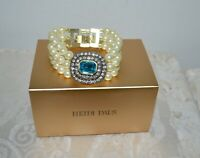 "New $130 HEIDI DAUS ""Tailored to Please"" Aqua Bracelet Pearl Crystal Clasp"