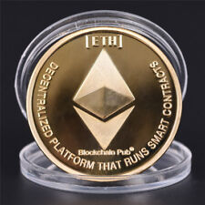 Gold Plated Commemorative Collectible Golden Iron ETH Ethereum Miner Coin HF