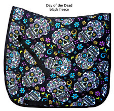 "FUN black  ""DAY OF THE DEAD"" skull roses print DRESSAGE SADDLE PAD sugar skull"