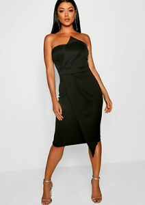 boohoo wrap midi dress UK 12 - 14 women's strapless ladies party black