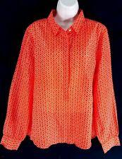 J. Crew Factory Printed Cotton Silk Popover Cerise Ikat Shirt Blouse Size XL