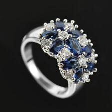 Women Fashion 925 Silver Jewelry Black Sapphire Wedding Party Ring Size 6-10
