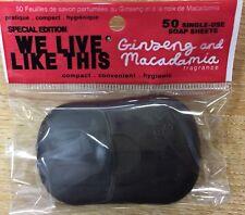Travel Soap Sheets Compact pack x50 Ginseng & macadamia Festival Walking Trek