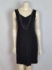 CAROLE LITTLE mini sleeveless pleated with necklace black dress size 4