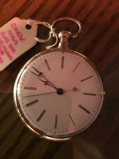 CHINESE DUPLEX POCKET WATCH 18/20 Size Coin Silver Case Gilded Movement *RUNS*