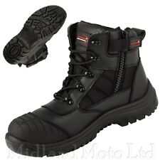 ARMA Safety Steel Toe Cap S3 Leather and Textile Zip Boots Shoe Trainer A16