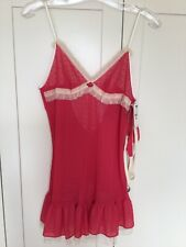 Betsey Johnson Ladies Baby Doll Chemise Negligee Size S Pink Thong Nighty