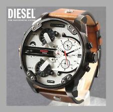 DIESEL DZ7394 Gunmetal IP Brown Leather Silver Dial Mr Daddy 2.0 Men's Watch