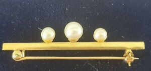 9ct Gold And Cultured Pearls Bar Brooch