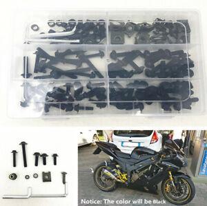 Motorcycle Body Faring Work Bolt Kit Black Fender Screws Clips Washers 177 Pcs