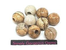 9 Stunning Large Holed (4 mm) Round Picture Jasper Gemstone Beads - 12 mm