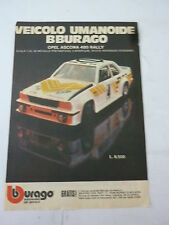 ADVERTISING PUBBLICITA'  BURAGO OPEL ASCONA 400 RALLY scala 1:24  - - 1981