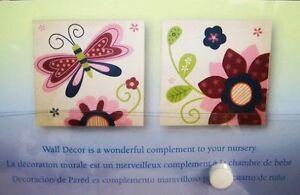 NOJO MYSTIC GARDEN WALL ART DECOR BUTTERFLY FLOWER 2PC