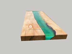 Green Resin River Dining Restaurant Custom Top Acacia Handmade Decorative Table