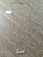 "LOVE necklace crystals and gold plated metal perfect gift 15"" chain"