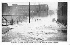 CPA ETATS UNIS D´AMERIQUE USA MASSACHUSSETS FLOOD SCENE ON NASHUA RIVER FITCHBUR