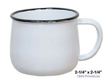 """2 SMALL Pot Bellied White Enamelware 2-1/4""""  Cups / Mugs ~ Vintage Reproduction"""