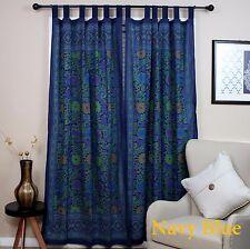 Handmade 100% Cotton Sunflower Floral Tab Top Curtain Drape Door Panel Navy Blue