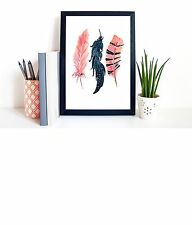 A4 Print on Paper Watercolour 3 Feathers Tribal, Boho, Scandi Wall Art Unframed