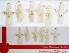 6-pc Mikasa SANTA CLAUS PORCELAIN ORNAMENTS 24k Gold HOLIDAY Christmas Gifts NEW