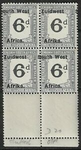 South West Africa 1927 Postage Due 6d Marginal Block 'Misplaced Overprint' MH