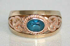 Stunning EARLY 1994 Clogau Welsh 9ct Yellow & Rose Gold Topaz Celtic Ring P1/2
