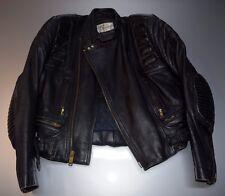 Vintage Berman's Black Leather Motorcycle Jacket Cafe Offset Style Moto SMALL