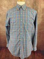 Peter Millar Long Sleeve Button Down Shirt Blue Orange Pink Plaid Check Men's Lg