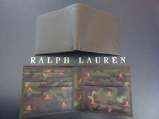 Polo RALPH LAUREN Bifold Wallet Brown Leather Camo Skull Print Interior
