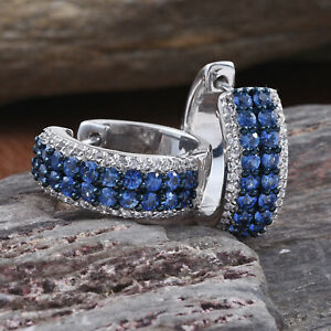 Blue Sapphire, Sri Lankan White Sapphire Platinum Over Sterling Silver Earrings