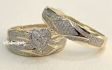 14K Yellow Gold Diamond His And Her Bridal Wedding Band Engagement Ring Trio Set