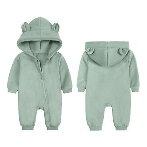 Toddler Baby Romper Hoodie Bodysuit Girls Boys Thickening Keep Warm Tops Clothes