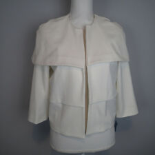 avenue fashions  BLAZER M   jacket,TOP CAPE WHITE OPEN FRONT 3/4 SLEEVE E3