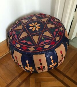 Egyptian camel leather footstool Pouf pouffe hand quilted beige and blue