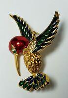 Enamel Hummingbird Bird Pin Brooch Vtg Gold Tone Rhinestone Eye Red Green Blue