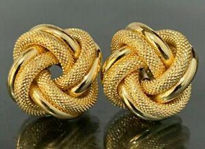 Large Modern Italian Solid 18K Yellow Gold Knot Pattern Stud Earrings 6.24g