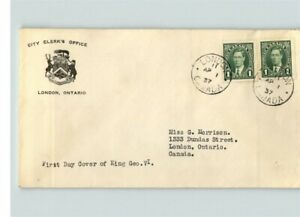 CANADA, 1937 First Day cover, KING GEORGE VI, sent to London, Ontario, Canada