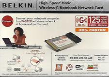BELKIN WIRELESS G NOTEBOOK NETWORK CARD 125 HIGH SPEED MODE NEW/SEALED