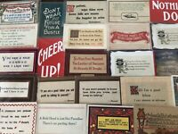 Lot of 40 VINTAGE old GREETING postcards ART CRAFTS Sayings MOTTO mottos---s928