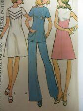 Vtg 70's McCall's 3557 DRESS or TUNIC w/ BACK ZIPPER Sewing Pattern Women Sz20.5
