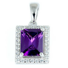 "Radiant Cut Amethyst & Cz Fashion .925 Sterling Silver Pendant .75""long"